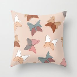 Butterflyes on a delicate pink background Throw Pillow