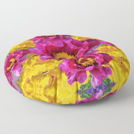 FUCHSIA POPPIES IN YELLOW POPPY GARDEN ART Floor Pillow