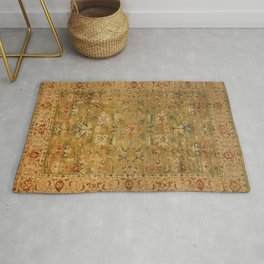 Persian 19th Century Authentic Colorful Muted Green Yellow Blue Vintage Patterns Rug