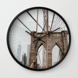 Brooklyn Bridge | Colourful Travel Photography | New York City, America (USA) Wall Clock