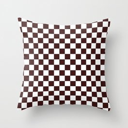 Small Checkered - White and Dark Sienna Brown Throw Pillow