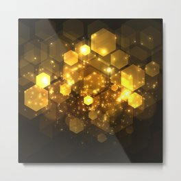 Shiny Gold Hexagon Geometric Patterns Metal Print