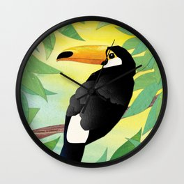 Toucan Collage and Sunrise Wall Clock