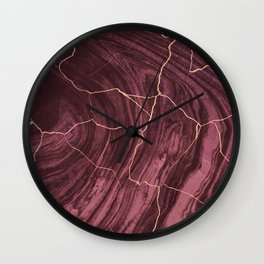 Cracked brown red marble paint Wall Clock