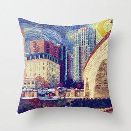 Minneapolis Starry Night Throw Pillow