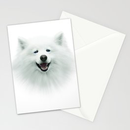White dog, puppy, 3d, big face, kids Stationery Cards