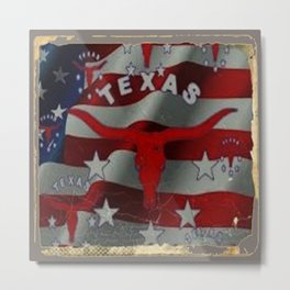 Texas Red & White Americana Longhorn Logo Pattern Art Metal Print