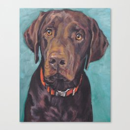 Chocolate lab LABRADOR RETRIEVER dog portrait painting by L.A.Shepard fine art Leinwanddruck