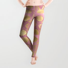 Beautiful Pink and Gold Leopard Design Pattern Leggings