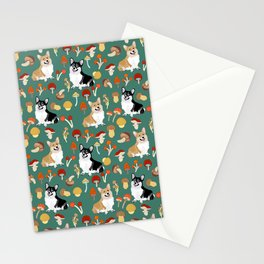 Happy Corgis In Fall Forest Searching For Mushrooms I - Teal  Stationery Cards