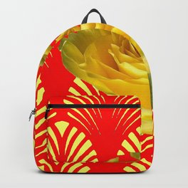 ABSTRACT YELLOW-RED ART DECO ROSE ART Backpack