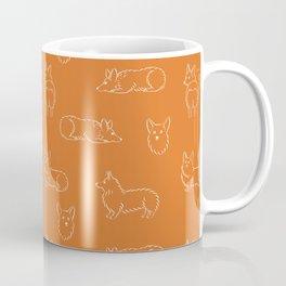 Corgi Pattern on Orange Background Coffee Mug