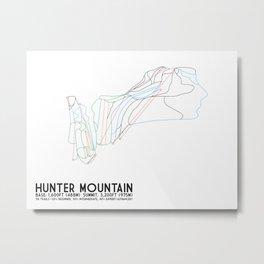 Hunter Mountain, NY - Minimalist Trail Art Metal Print
