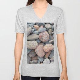 Watercolor Rock, Pebbles 05, Cape Breton, Nova Scotia, Canada, No Worries Here Unisex V-Neck