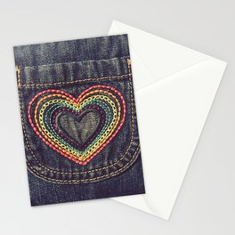 Embroidered Rainbow Heart Pocket Stationery Cards