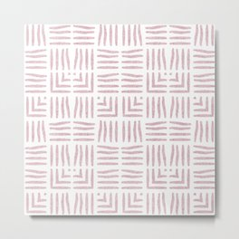Nappy Faux Velvet Wicker Weave in Powder Pink on White Metal Print