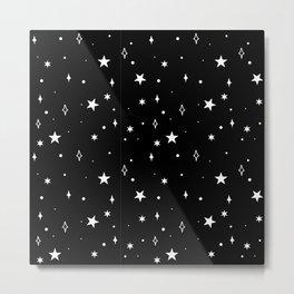Stars in Space Pattern (white/black) Metal Print