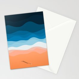 Lone Surfer On The Beach Stationery Cards