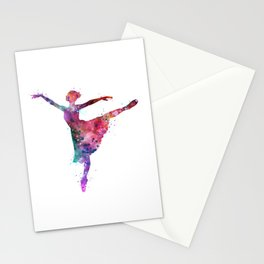 Ballerina Girl Colorful Watercolor Stationery Cards
