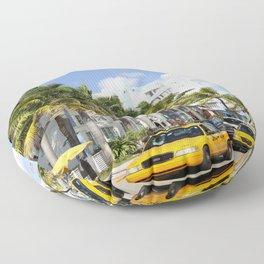 Yellow Cabs On Ocean Drive Floor Pillow