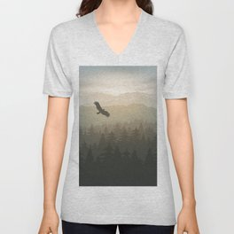 mountain forest in fog and sunrise with stars Unisex V-Neck