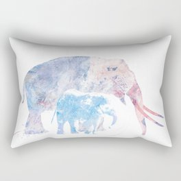 Digital Painting of Two Elephants Rectangular Pillow