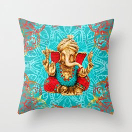 Lord Ganesha  - Mixed Media Throw Pillow