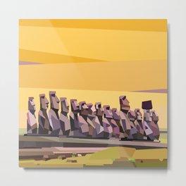 Geometric Easter Island Metal Print