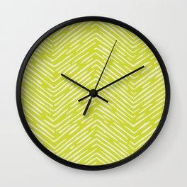 Chartreuse hand drawn pattern Wall Clock