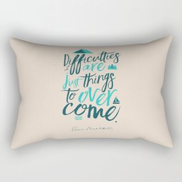 Shackleton quote on difficulties, illustration, interior design, wall decoration, positive vibes Rectangular Pillow