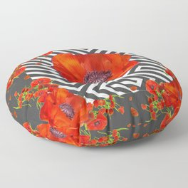 AWESOME GREY GRAPHIC ART YELLOW-RED POPPIES GARDEN Floor Pillow