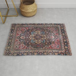 Persian Old Century Authentic Colorful Dusty Blue Pink Brown Vintage Patterns Rug