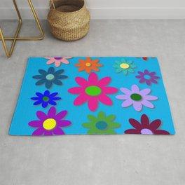Flower Power - Blue Background - Fun Flowers - 60's Hippie Style Rug