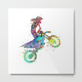 Girl Motocross Colorful Watercolor Moto Bike Supercross Art Metal Print