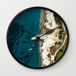Beach caves and white rocks Wall Clock