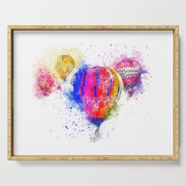 Hot air balloon in watercolor Serving Tray