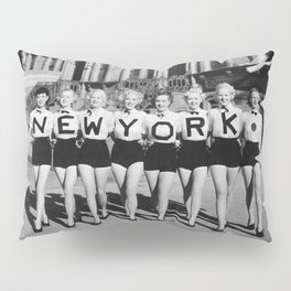 New York Girls in a line, lovely girls on the street - mid century vintage photo Pillow Sham