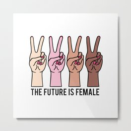 Female hands with peace sign Metal Print