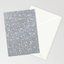 Silver Faux Elegant Glitter Sparkle Stationery Cards
