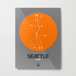 Seattle Orange Subway Map Metal Print