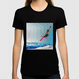Man jumps with skies on piste with mountains and sky background T-shirt