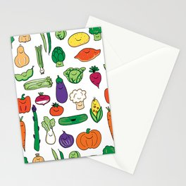 Cute Smiling Happy Veggies on white background Stationery Cards