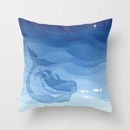 Mermaid, watercolor, blue, fish Deko-Kissen