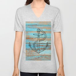 Naval Ship Anchor Teal Blue Chipped Paint Barnboard Unisex V-Neck