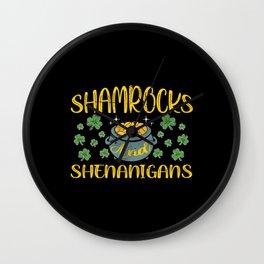 St Patrick Shamrocks Shenanigans Wall Clock