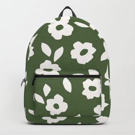 Simple Hand Cut Floral | Green Backpack