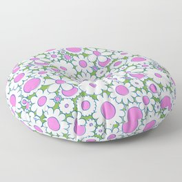 Groovy Daisy Floral in Lime + White Floor Pillow