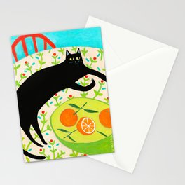 Black Cat with bowl of Oranges Stationery Cards