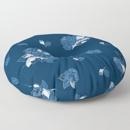 Classic Blue Roses at Midnight Floor Pillow