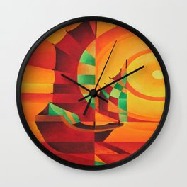 Cubist Junks on A Red Sea Wall Clock
